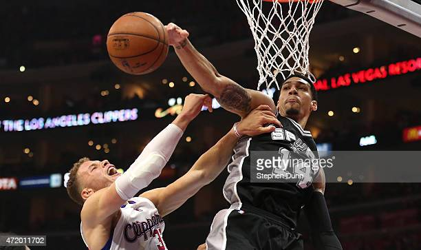 Danny Green of the San Antonio Spurs blocks a shot by Blake Griffin of the Los Angeles Clippers during Game Seven of the Western Conference...