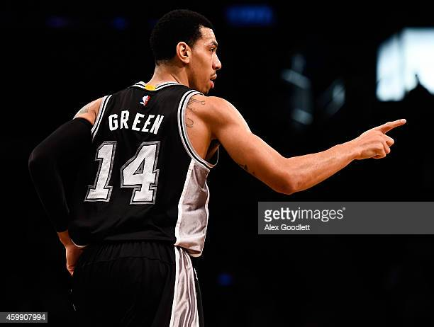 Danny Green of the San Antonio Spurs celebrates a basket in the second half during a game against the Brooklyn Nets at the Barclays Center on...