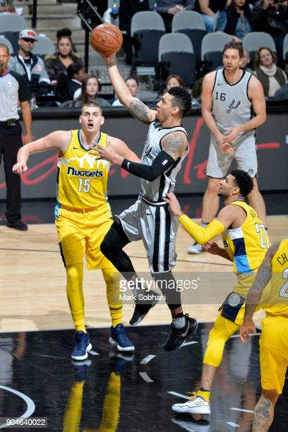 Danny Green of the San Antonio Spurs drives to the basket against the Denver Nuggets on January 13 2018 at the ATT Center in San Antonio Texas NOTE...
