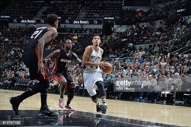 Danny Green of the San Antonio Spurs drives to the basket during a preseason game against the Miami Heat on October 14 2016 at the ATT Center in San...