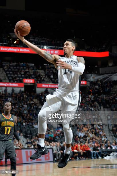 Danny Green of the San Antonio Spurs goes for a layup against the Atlanta Hawks on November 20 2017 at the ATT Center in San Antonio Texas NOTE TO...