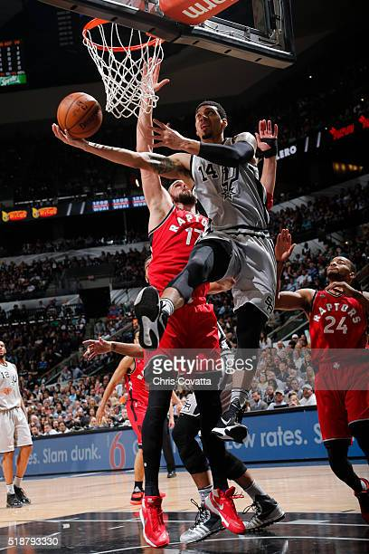 Danny Green of the San Antonio Spurs goes for the layup against the Toronto Raptors during the game on April 2 2016 at ATT Center in San Antonio...