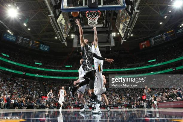 Danny Green of the San Antonio Spurs goes to the basket against the Utah Jazz on February 12 2018 at vivintSmartHome Arena in Salt Lake City Utah...