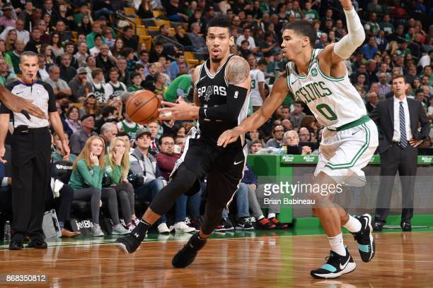 Danny Green of the San Antonio Spurs handles the ball against Jayson Tatum of the Boston Celtics on October 30 2017 at the TD Garden in Boston...