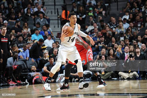 Danny Green of the San Antonio Spurs handles the ball against the Houston Rockets during the game on November 9 2016 at the ATT Center in San Antonio...