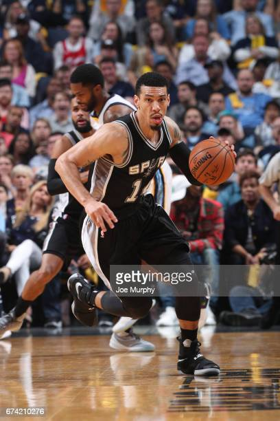 Danny Green of the San Antonio Spurs handles the ball against the Memphis Grizzlies during Game Six of the Western Conference Quarterfinals of the...