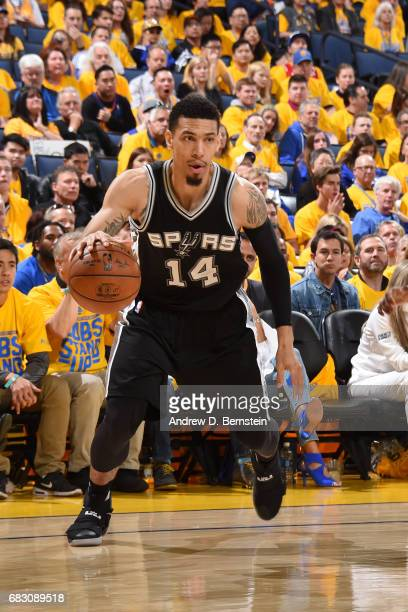 Danny Green of the San Antonio Spurs handles the ball against the Golden State Warriors in Game One of the Western Conference Finals of the 2017 NBA...