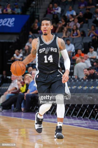 Danny Green of the San Antonio Spurs handles the ball against the Sacramento Kings during the preseason game on October 2 2017 at Golden 1 Center in...