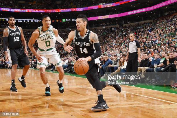 Danny Green of the San Antonio Spurs handles the ball against the Boston Celtics on October 30 2017 at the TD Garden in Boston Massachusetts NOTE TO...