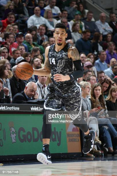 Danny Green of the San Antonio Spurs handles the ball against the Utah Jazz on February 12 2018 at vivintSmartHome Arena in Salt Lake City Utah NOTE...