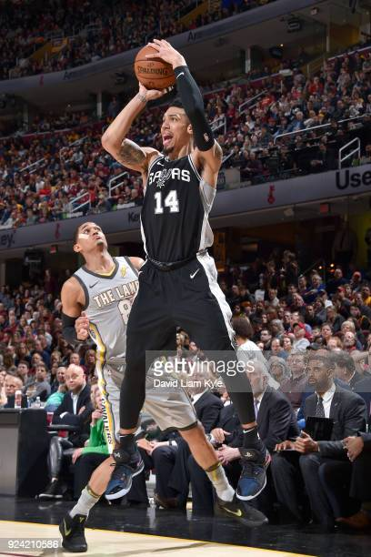 Danny Green of the San Antonio Spurs handles the ball against the Cleveland Cavaliers on February 25 2018 at Quicken Loans Arena in Cleveland Ohio...