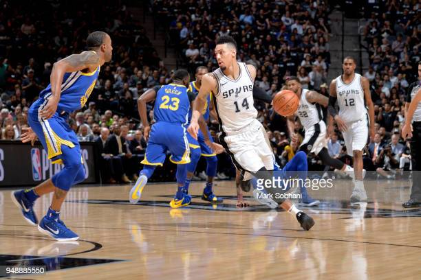 Danny Green of the San Antonio Spurs handles the ball against the Golden State Warriors during Game Three of the Western Conference Quarterfinals in...