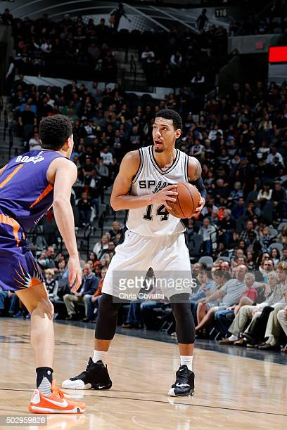 Danny Green of the San Antonio Spurs handles the ball during the game against the Phoenix Suns on December 30 2015 at the ATT Center in San Antonio...