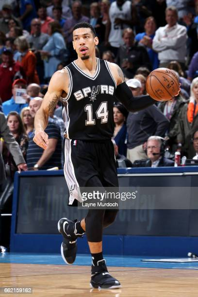 Danny Green of the San Antonio Spurs handles the ball during the game against the Oklahoma City Thunder on March 31 2017 at Chesapeake Energy Arena...