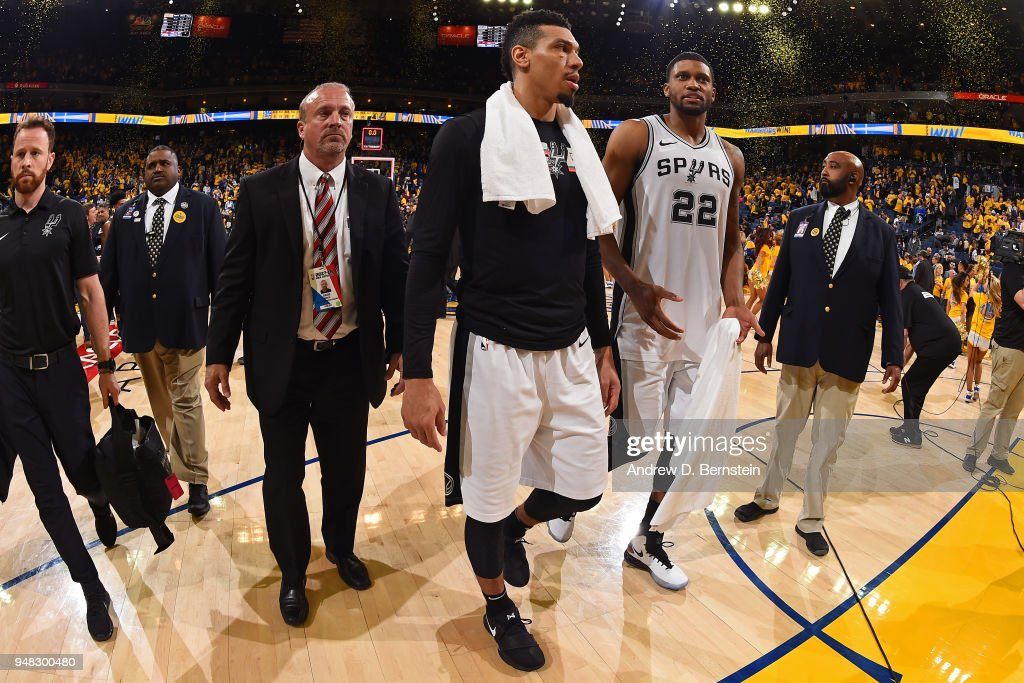 Danny Green #14 of the San Antonio Spurs looks on after Game Two of Round One of the 2018 NBA Playoffs against the Golden State Warriors on April 16, 2018 at ORACLE Arena in Oakland, California.