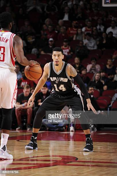 Danny Green of the San Antonio Spurs plays defense against the Houston Rockets during the game on December 20 2016 at the Toyota Center in Houston...