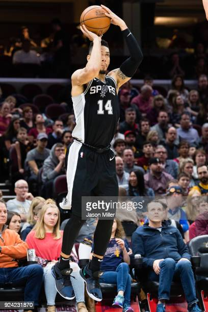 Danny Green of the San Antonio Spurs shoots a three during the second half against the Cleveland Cavaliers at Quicken Loans Arena on February 25 2018...