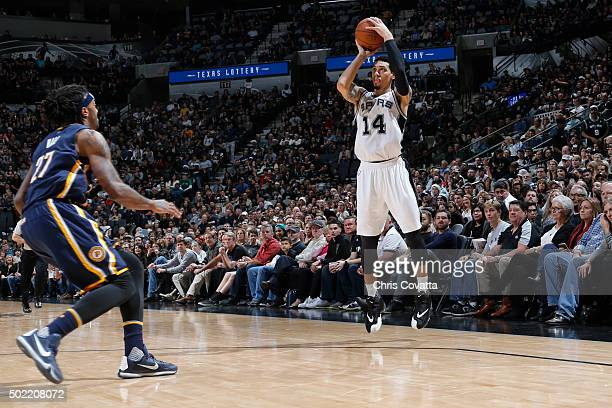 Danny Green of the San Antonio Spurs shoots against the Indiana Pacers on December 21 2015 at the ATT Center in San Antonio Texas NOTE TO USER User...