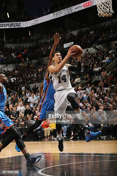 Danny Green of the San Antonio Spurs shoots the ball against the Oklahoma City Thunder in Game Two of the Western Conference SemiFinals during the...
