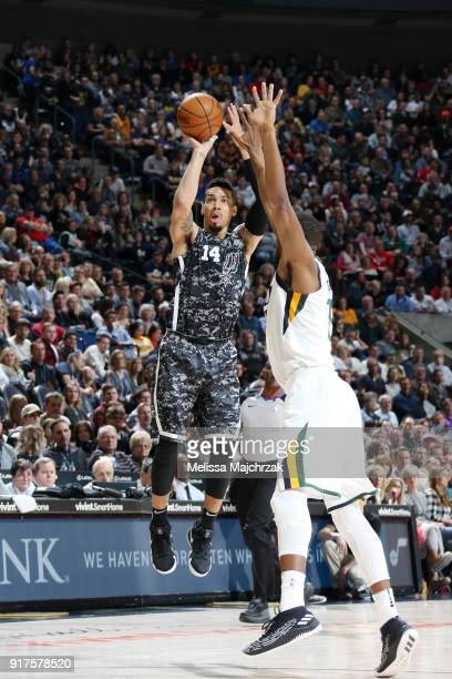 Danny Green of the San Antonio Spurs shoots the ball against the Utah Jazz on February 12 2018 at vivintSmartHome Arena in Salt Lake City Utah NOTE...