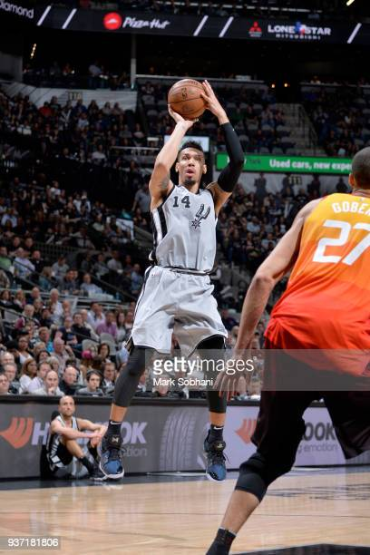 Danny Green of the San Antonio Spurs shoots the ball against the Utah Jazz on March 23 2018 at the ATT Center in San Antonio Texas NOTE TO USER User...