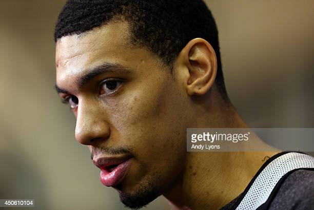 Danny Green of the San Antonio Spurs speaks to the media on an off day following Game Four of the 2014 NBA Finals against the Miami Heat at the Spurs...