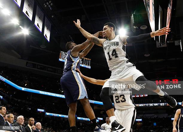 Danny Green of the San Antonio Spurs tries to block shot attempt of PJ Hairston of the Memphis Grizzlies of game two of the Western Conference...