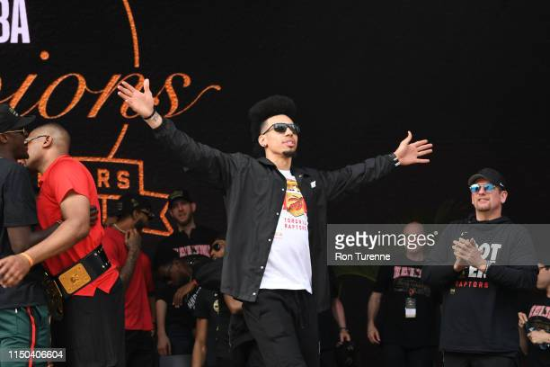 Danny Green of the Toronto Raptors acknowledges crowd during the Toronto Raptors Championship Victory Parade on June 17 2019 in Toronto Ontario NOTE...