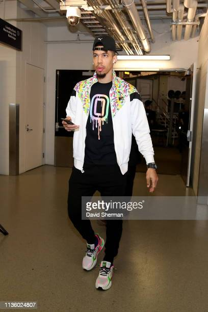 Danny Green of the Toronto Raptors arrives to the arena before the game against the Minnesota Timberwolves on April 9 2019 at Target Center in...