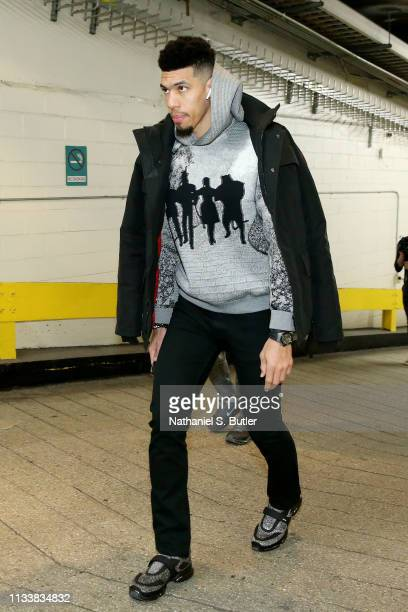 Danny Green of the Toronto Raptors arrives to the arena prior to the game against the New York Knicks on March 28 2019 at Madison Square Garden in...