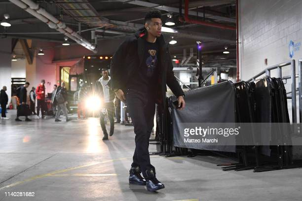 Danny Green of the Toronto Raptors arrives to the arena prior to the game against the Brooklyn Nets at Barclays Center on April 3 2019 in the...