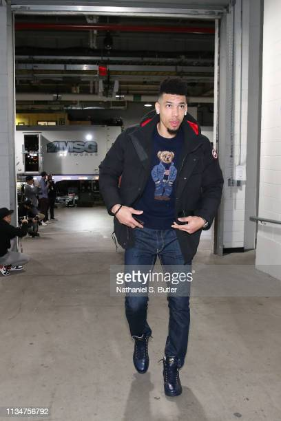 Danny Green of the Toronto Raptors arrives to the game against the Brooklyn Nets on April 3 2019 at Barclays Center in New York City New York NOTE TO...