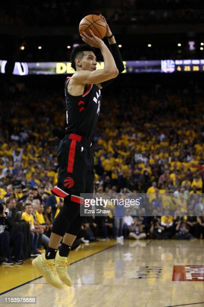 Danny Green of the Toronto Raptors attempts a jump shot against the Golden State Warriors in the second half during Game Three of the 2019 NBA Finals...