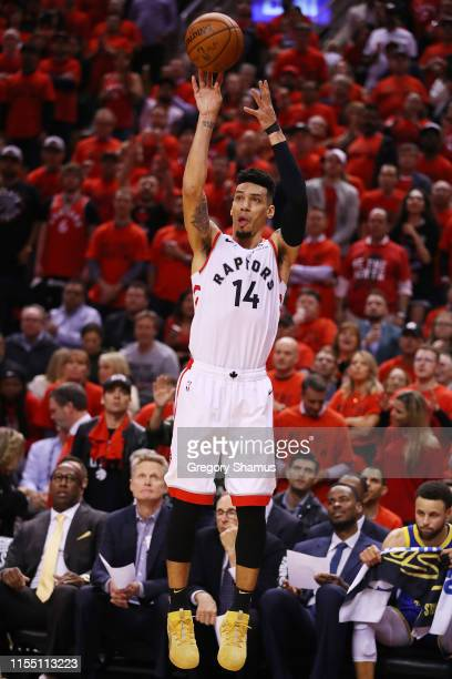 Danny Green of the Toronto Raptors attempts a jump shot against the Golden State Warriors in the second half during Game Five of the 2019 NBA Finals...