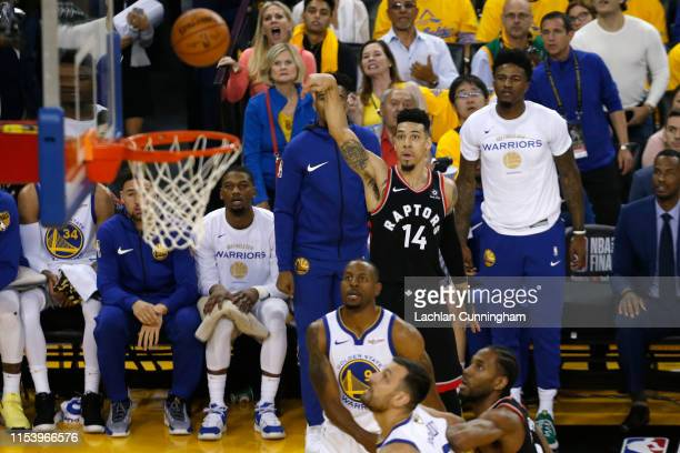Danny Green of the Toronto Raptors attempts a shot against the Golden State Warriors in the first half during Game Three of the 2019 NBA Finals at...