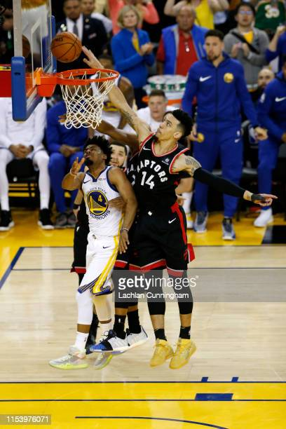 Danny Green of the Toronto Raptors attempts a shot against the Golden State Warriors in the second half during Game Three of the 2019 NBA Finals at...