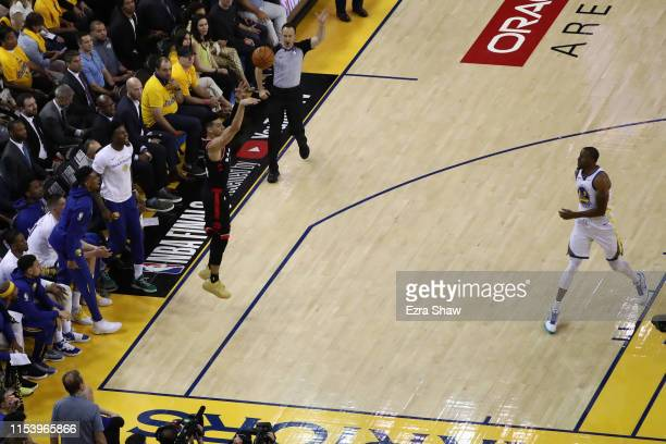 Danny Green of the Toronto Raptors attempts a shot against the Toronto Raptors in the first half during Game Three of the 2019 NBA Finals at ORACLE...