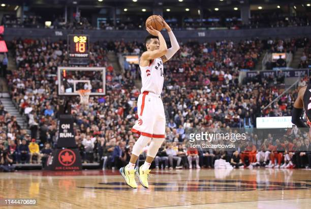 Danny Green of the Toronto Raptors attempts a threepoint shot in the third quarter against the Miami Heat at Scotiabank Arena on April 7 2019 in...