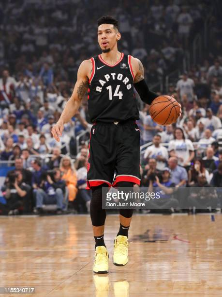 Danny Green of the Toronto Raptors brings the ball up court against the Orlando Magic during Game Three of the first round of the 2019 NBA Eastern...