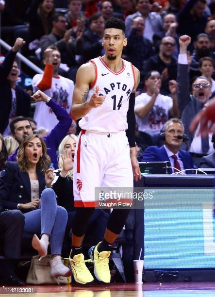 Danny Green of the Toronto Raptors celebrates a 3 pointer in the second half during Game Five of the second round of the 2019 NBA Playoffs against...