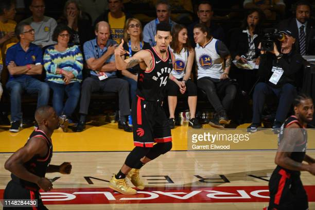 Danny Green of the Toronto Raptors celebrates a three point basket against the Golden State Warriors during Game Three of the NBA Finals on June 5...