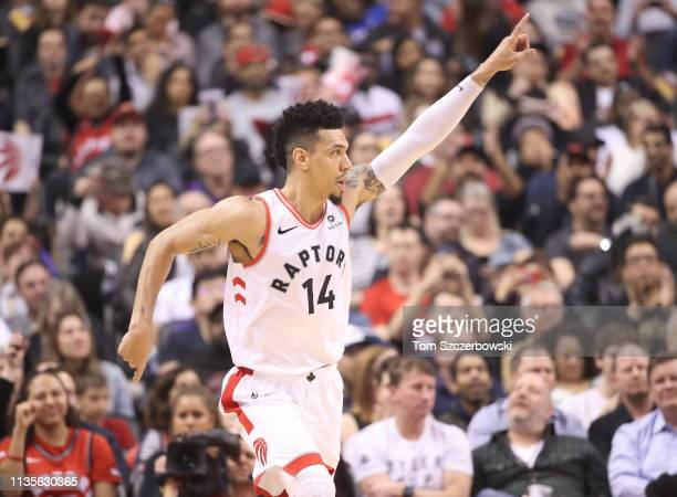 Danny Green of the Toronto Raptors celebrates after scoring a threepointer in the first quarter against the Miami Heat at Scotiabank Arena on April 7...