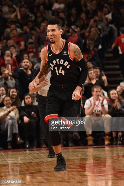 Danny Green of the Toronto Raptors celebrates during the game against the Memphis Grizzlies on January 19 2019 at the Scotiabank Arena in Toronto...