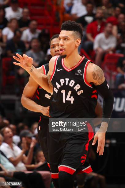 Danny Green of the Toronto Raptors celebrates during the game against the Miami Heat on March 10 2019 at American Airlines Arena in Miami Florida...