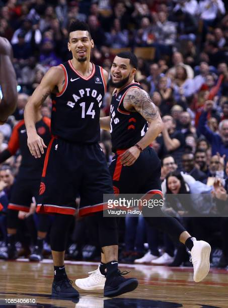 Danny Green of the Toronto Raptors celebrates with Fred VanVleet after sinking 7x3 pointers in the 3rd quarter of an NBA game against the Memphis...