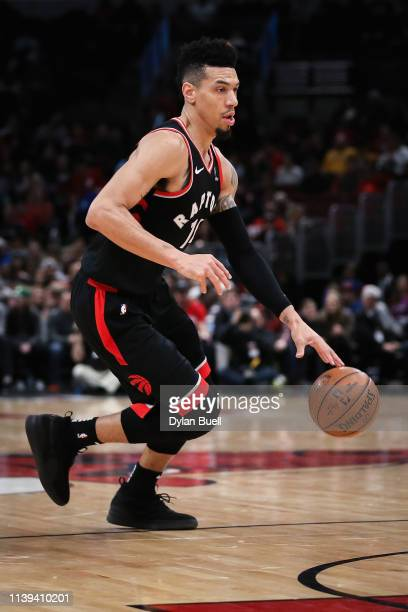 Danny Green of the Toronto Raptors dribbles the ball in the first quarter against the Chicago Bulls at the United Center on March 30 2019 in Chicago...