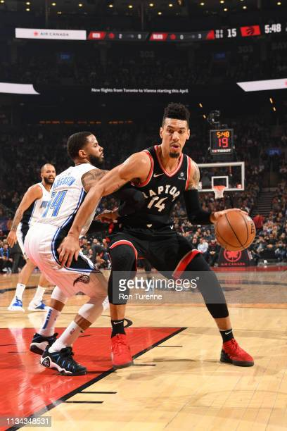 Danny Green of the Toronto Raptors drives to the basket against the Orlando Magic on April 1 2019 at the Scotiabank Arena in Toronto Ontario Canada...