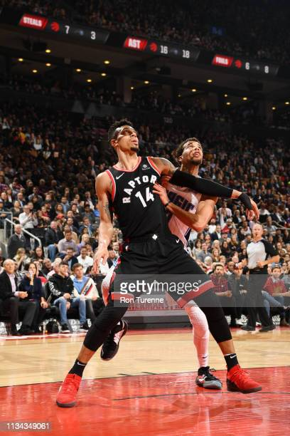 Danny Green of the Toronto Raptors fights for position during the game against the Orlando Magic on April 1 2019 at the Scotiabank Arena in Toronto...
