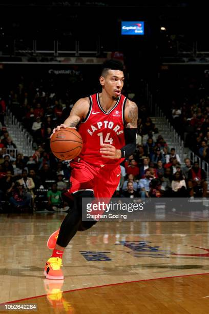 Danny Green of the Toronto Raptors handles the ball against the Washington Wizards on October 20 2018 at Capital One Arena in Washington DC NOTE TO...