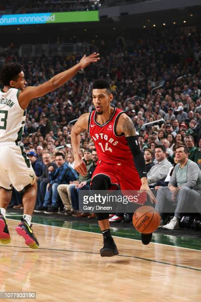Danny Green of the Toronto Raptors handles the ball against the Milwaukee Bucks on January 5 2019 at the Fiserv Forum Center in Milwaukee Wisconsin...
